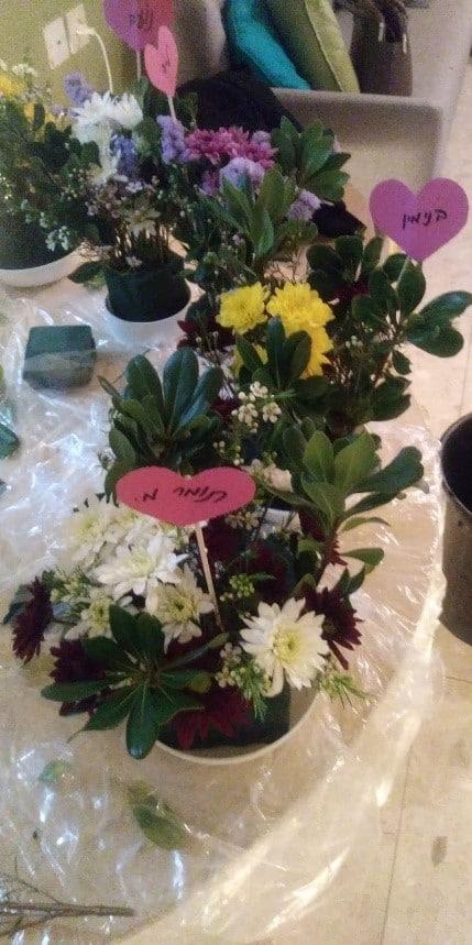תוצרי שזירת הפרחים